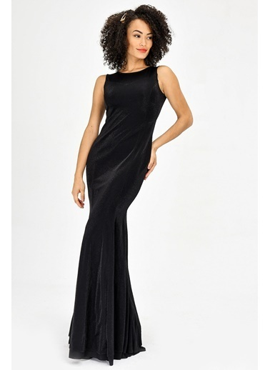 Jument Simli Kayık Yaka Kolsuz Balık Abiye Elbise - Siyah Siyah